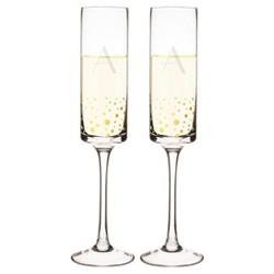 Monogram Gold Dot Champagne Flute Drinkware ( Set of 2)
