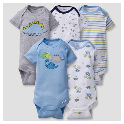Baby Boys' 5pk Onesies® Bodysuits Dinos - Gerber® - Blue NB