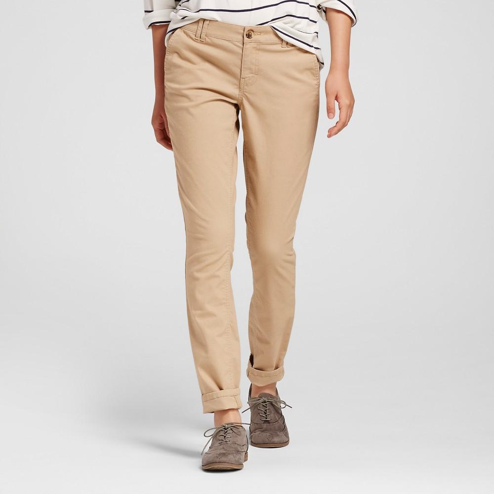 Womens Skinny Twill Chino Pants Tan 2 - Mossimo Supply Co. (Juniors)