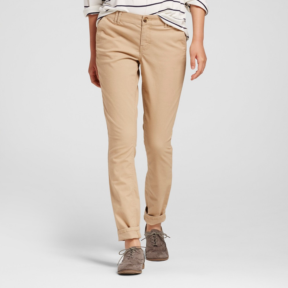 Womens Skinny Twill Chino Pants Tan 12 - Mossimo Supply Co. (Juniors)