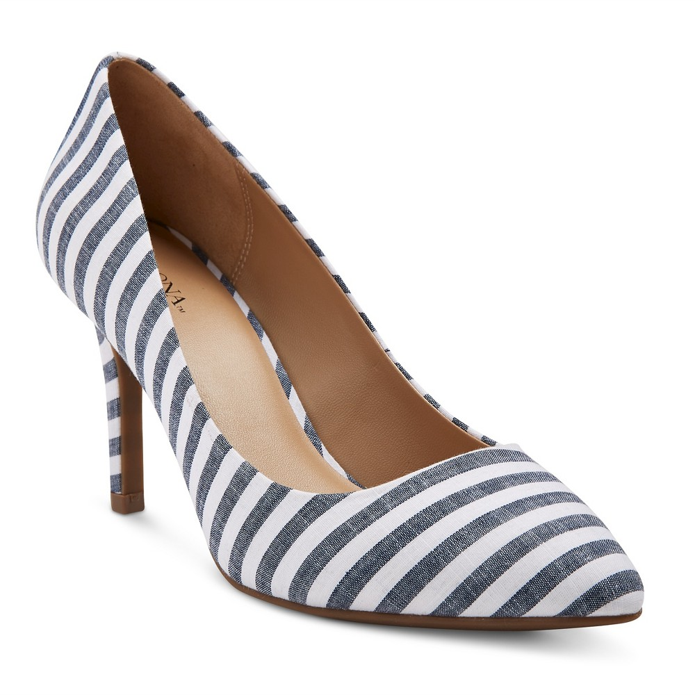 Womens Alexis Wide Width Pointed Toe Pumps with 3.75 Heels - Merona Blue 5, Size: 5 Wide, Denim Blue