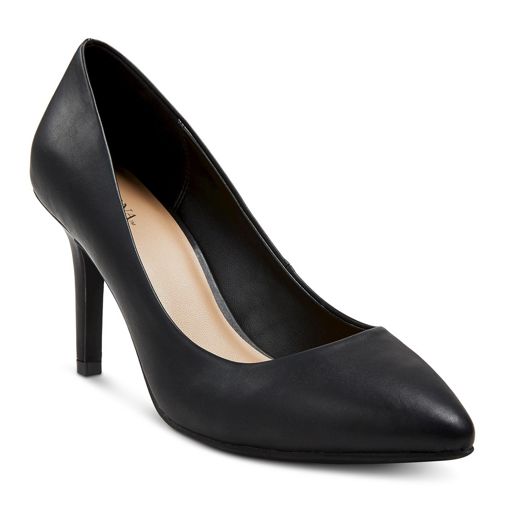 Womens Alexis Wide Width Pointed Toe Pumps with 3.75 Heels - Merona Black 6, Size: 6 Wide