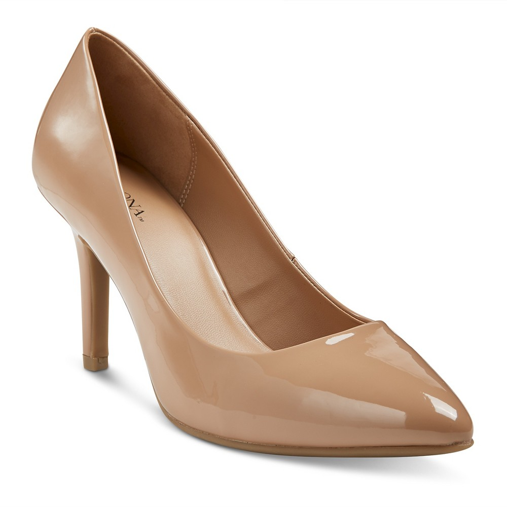 Womens Alexis Wide Width Pointed Toe Pumps with 3.75 Heels - Merona Tan 9, Size: 9 Wide