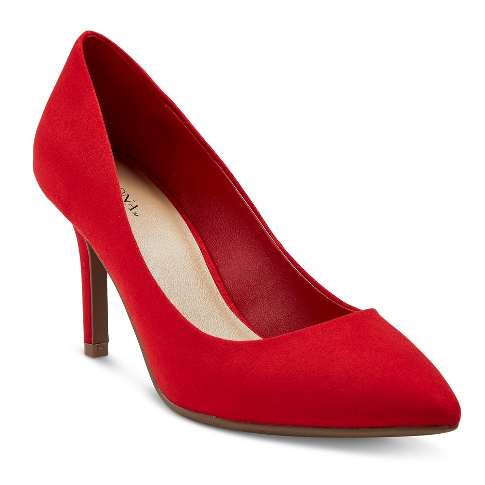 Women's Alexis Wide Width Pointed Toe Pumps with 3.75 Heels - Merona Red 12, Size: 12 Wide