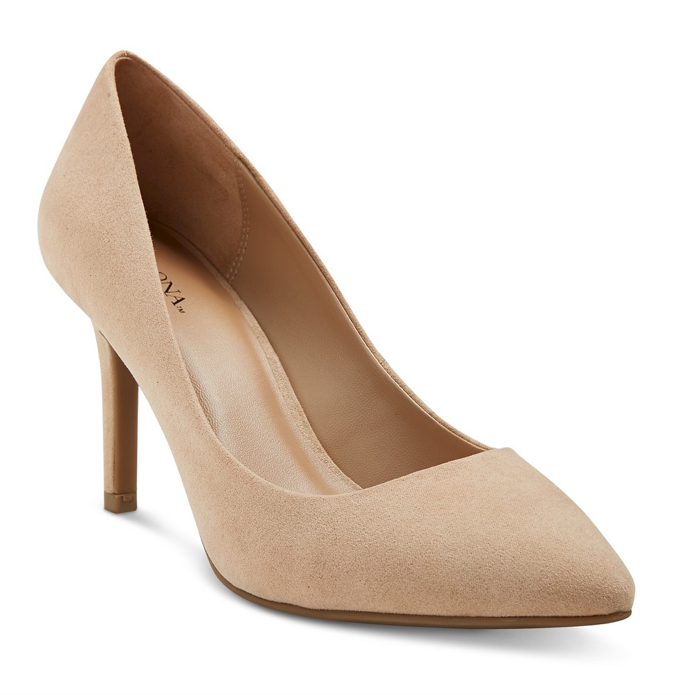 Womens Alexis Wide Width Pointed Toe Pumps with 3.75 Heels - Merona Nude 8, Size: 8 Wide