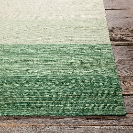 Gypsy Stripe Turquoise Grey Woven Cotton Rug: Hand Woven Cotton Rug