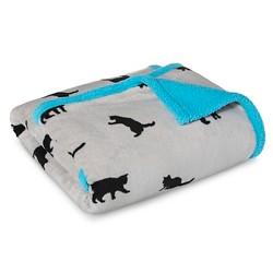 Territory Modern Cat Fluffy Fleece Blanket With Sherpa Back - Cat Print