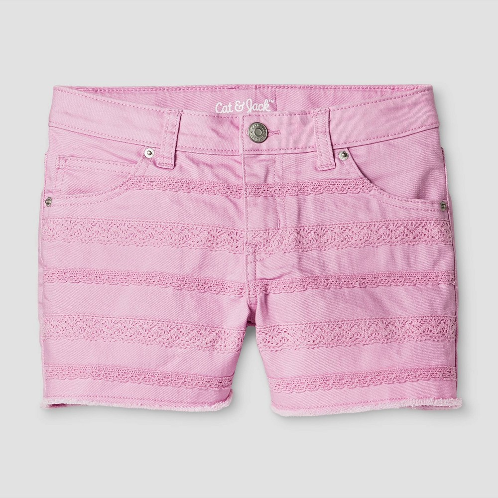 Girls Jean Shorts - Cat & Jack Peppermint Stick XS, Pink