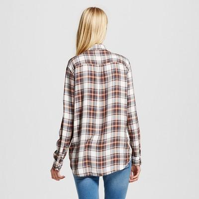 Women's Boyfriend Shirt Black M - Mossimo Supply Co. (Juniors')