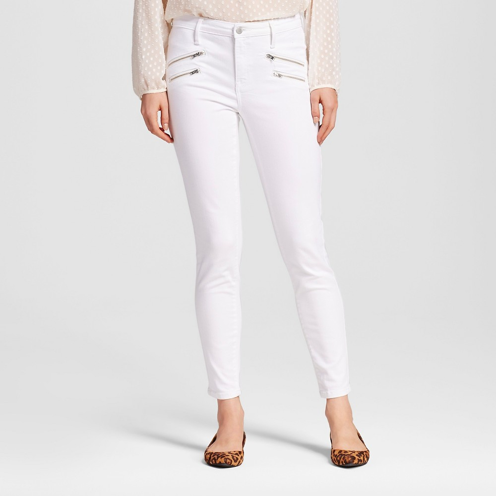 Womens High Rise Skinny With Zipper Pockets - Mossimo White 0L, Size: 0 Long