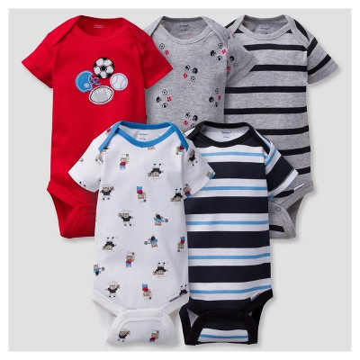 Baby Boys' 5pk Onesies® Bodysuits Sports - Gerber® - Red 6-9M