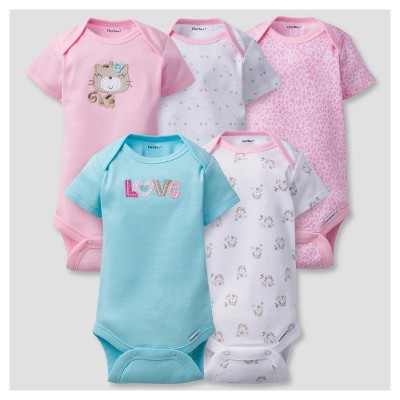 Baby Girls' 5pk Onesies® Bodysuits Kitty - Gerber® - Pink 3-6M