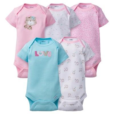 Baby Girls' 5pk Onesies® Bodysuits Kitty - Gerber® - Pink 0-3M