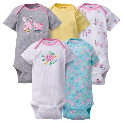 Baby Girls' 5pk Onesies® Bodysuits Bunny - Gerber® - Gray 0-3M