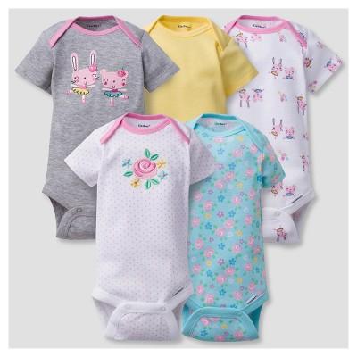 Baby Girls' 5pk Onesies® Bodysuits Bunny - Gerber® - Gray 18M