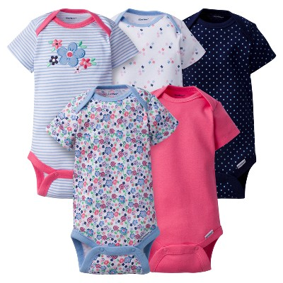 Baby Girls' 5 Pack Onesies® Bodysuits Butterfly - Gerber® Blue Multi 0-3M