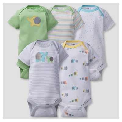 Baby 5pk Onesies® Bodysuits Elephants - Gerber® Gray NB