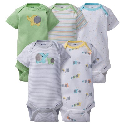 Baby 5pk Onesies® Bodysuits Elephants - Gerber® Gray 0-3M