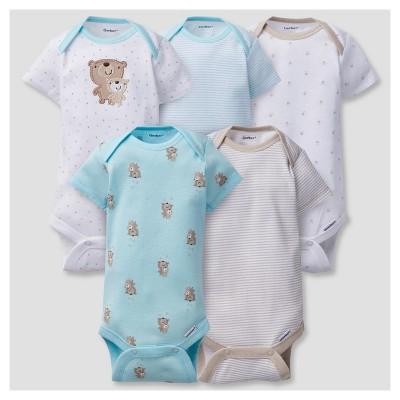 Baby 5pk Onesies® Bodysuits Bears - Gerber® Aqua NB