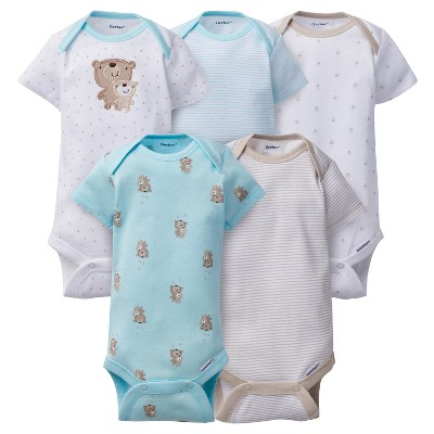 Baby 5pk Onesies® Bodysuits Bears - Gerber® Aqua 0-3M
