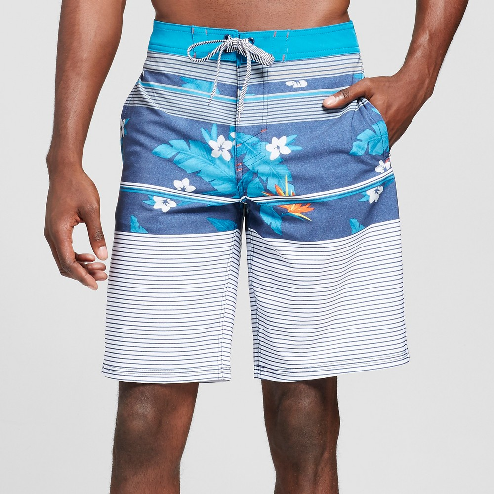 Mens Board Shorts Blue Floral 34 - Mossimo Supply Co.