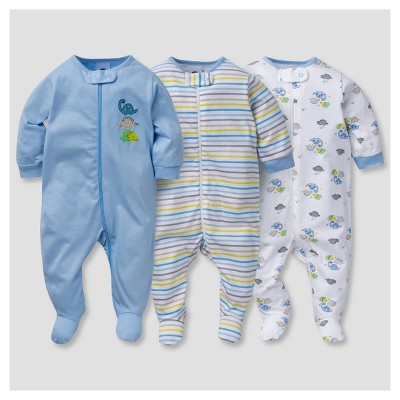 Baby Boys' 3pk Zip Front Sleep N' Play Dinos - Gerber®