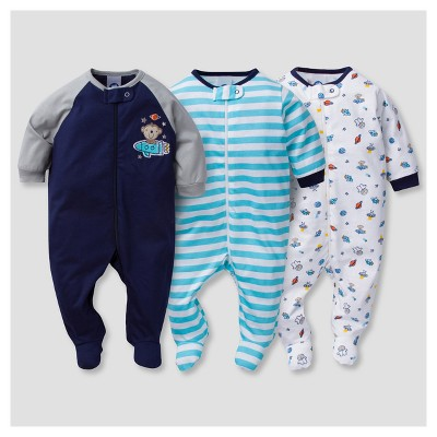 Baby Boys' 3pk Zip Front Sleep N' Play Monkeys - Gerber®