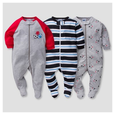 Baby Boys' 3pk Zip Front Sleep N' Play Sports - Gerber®