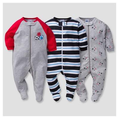 Baby Boys' 3pk Zip Front Sleep N' Play Sports - Gerber®