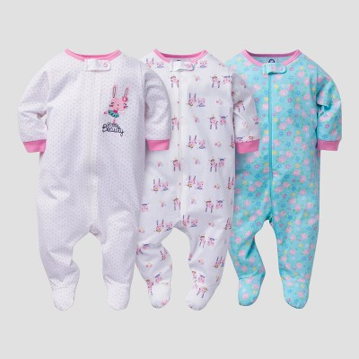 Baby Girls' 3pk Zip Front Sleep N Play Bunny - Gerber®