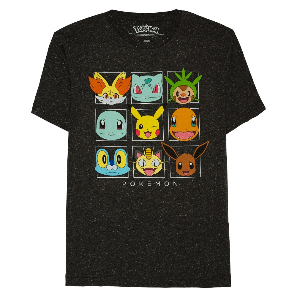 Mens Pokémon Friendly Faces T-Shirt - Black XL