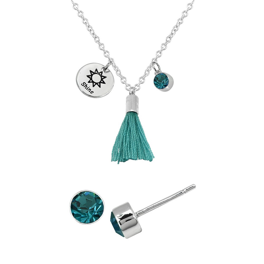 Womens Silver Plated Pend/Ear Set - Shine Disc/Turquoise Tassel - Crystal - Turquoise - White