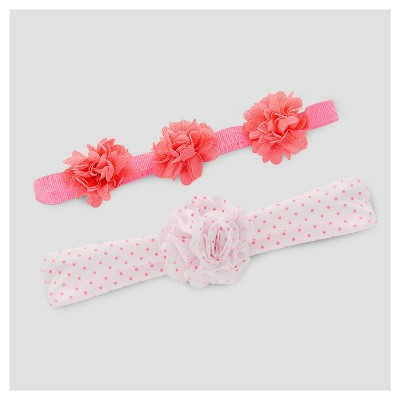 Baby Girls' 2pk Headwrap Set - Just One You™ Made by Carter's® Pink/White