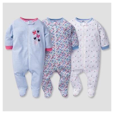 Baby Girls' 3pk Zip Front Sleep N Play Butterfly - Gerber®
