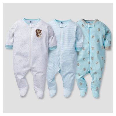 Baby's' 3pk Zip Front Sleep N' Play Bears - Gerber®