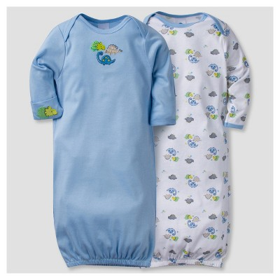 Baby Boys' 2pk Cotton Gown Dinos 0-6 M - Gerber®