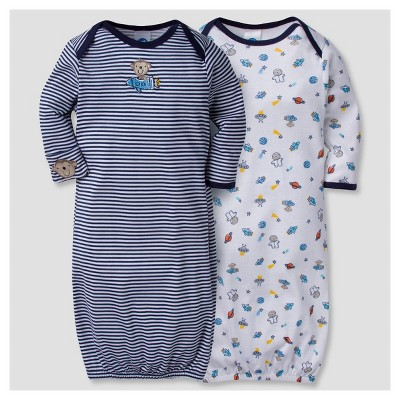 Baby Boys' 2pk Cotton Gown Monkeys 0-6 M - Gerber®