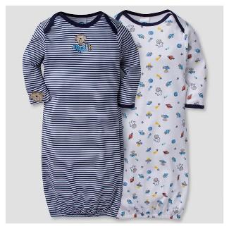 Baby Boys 2pk Cotton Gown Monkeys 0-6 M - Gerber®