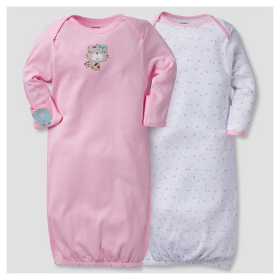 Baby Girls' 2pk Cotton Gown Kitty 0-6 M - Gerber®