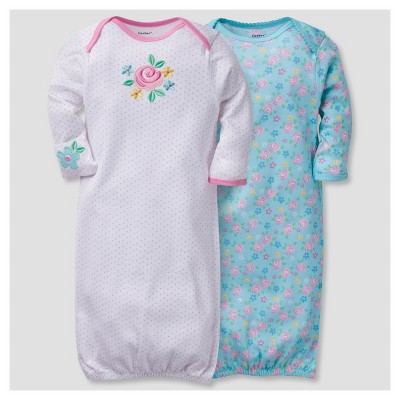 Baby Girls' 2pk Cotton Gown Bunny 0-6 M - Gerber®