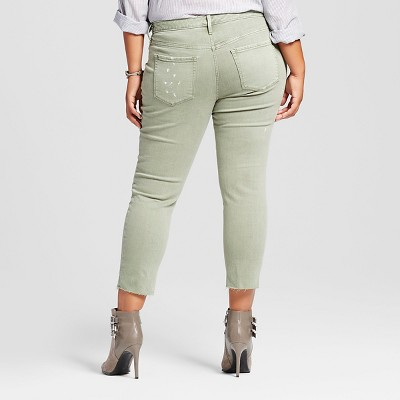 Women's Plus Size Jegging Crop - Ava & Viv Olive 22W, Green