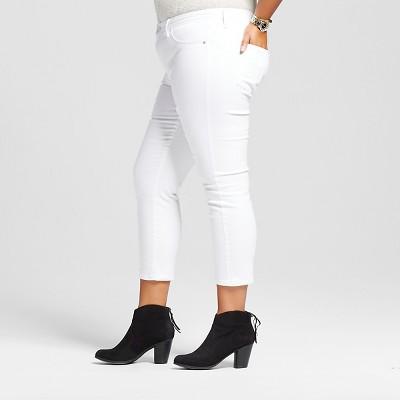 Women's Plus Size Women's Plus Size Jegging Crop White 16W - Ava & Viv