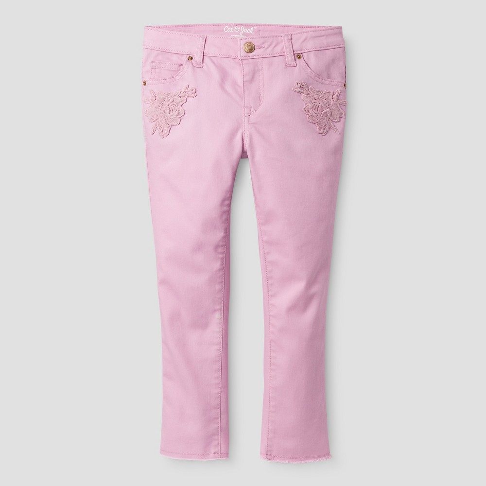 Girls Cropped Jeans - Cat & Jack Peppermint Stick 16, Pink