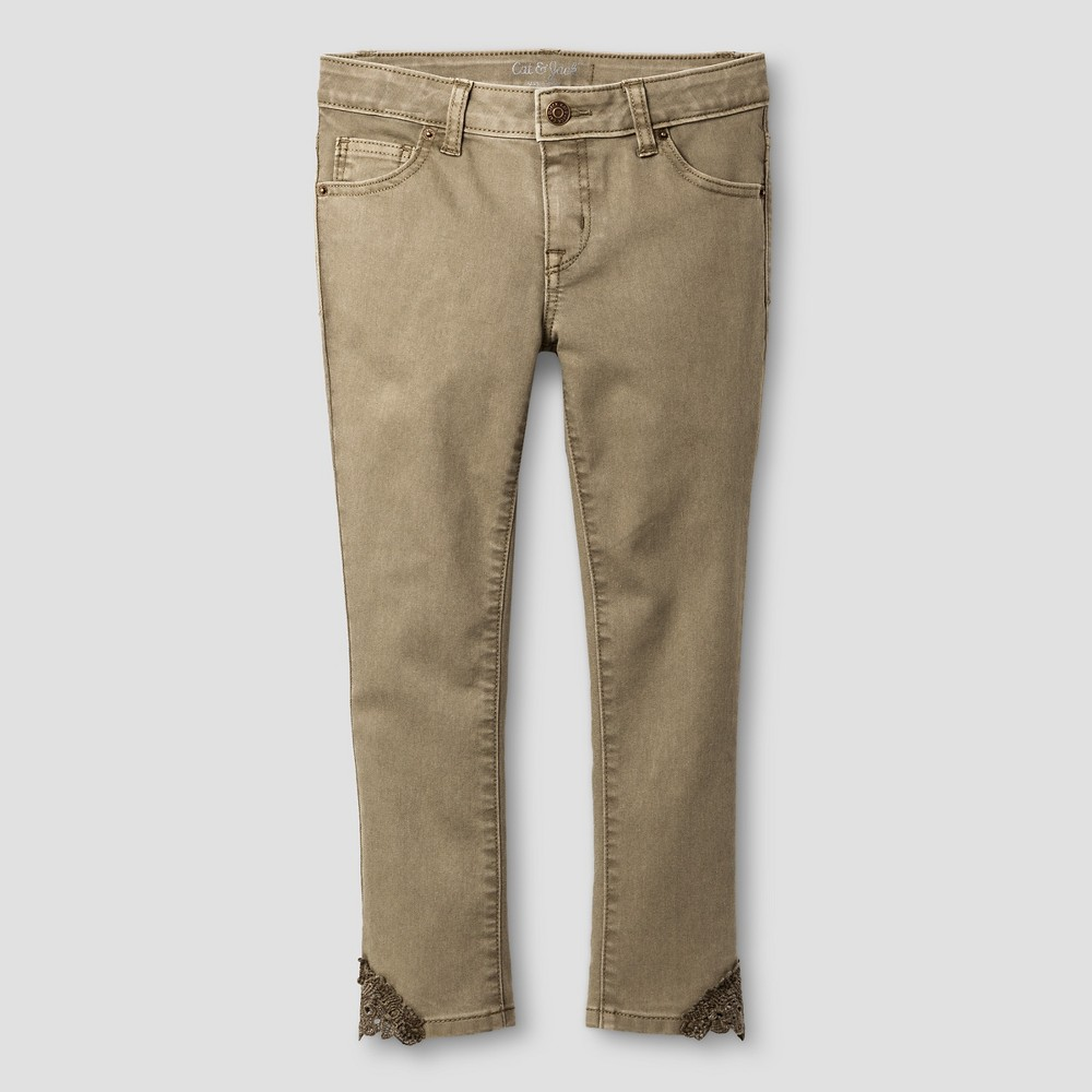 Girls Cropped Jeans - Cat & Jack Green Olive 14