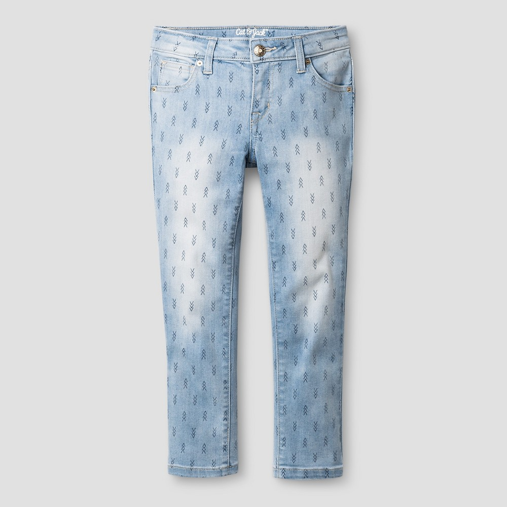 Girls Cropped Jeans - Cat & Jack Light Denim 7, Blue