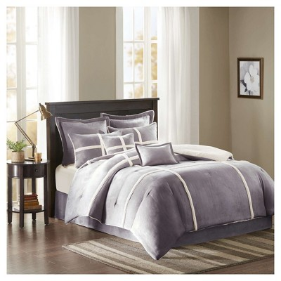 Brewer Suede Comforter Set (King)Gray - 8pc