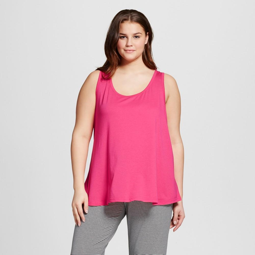 Womens Plus Size Knit Pajama Tank - Xhilaration - Pink 1X