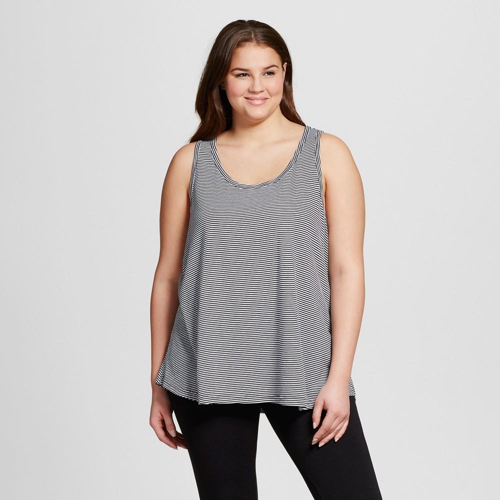 Womens Plus Size Knit Pajama Tank - Xhilaration - Black Stripe 2X