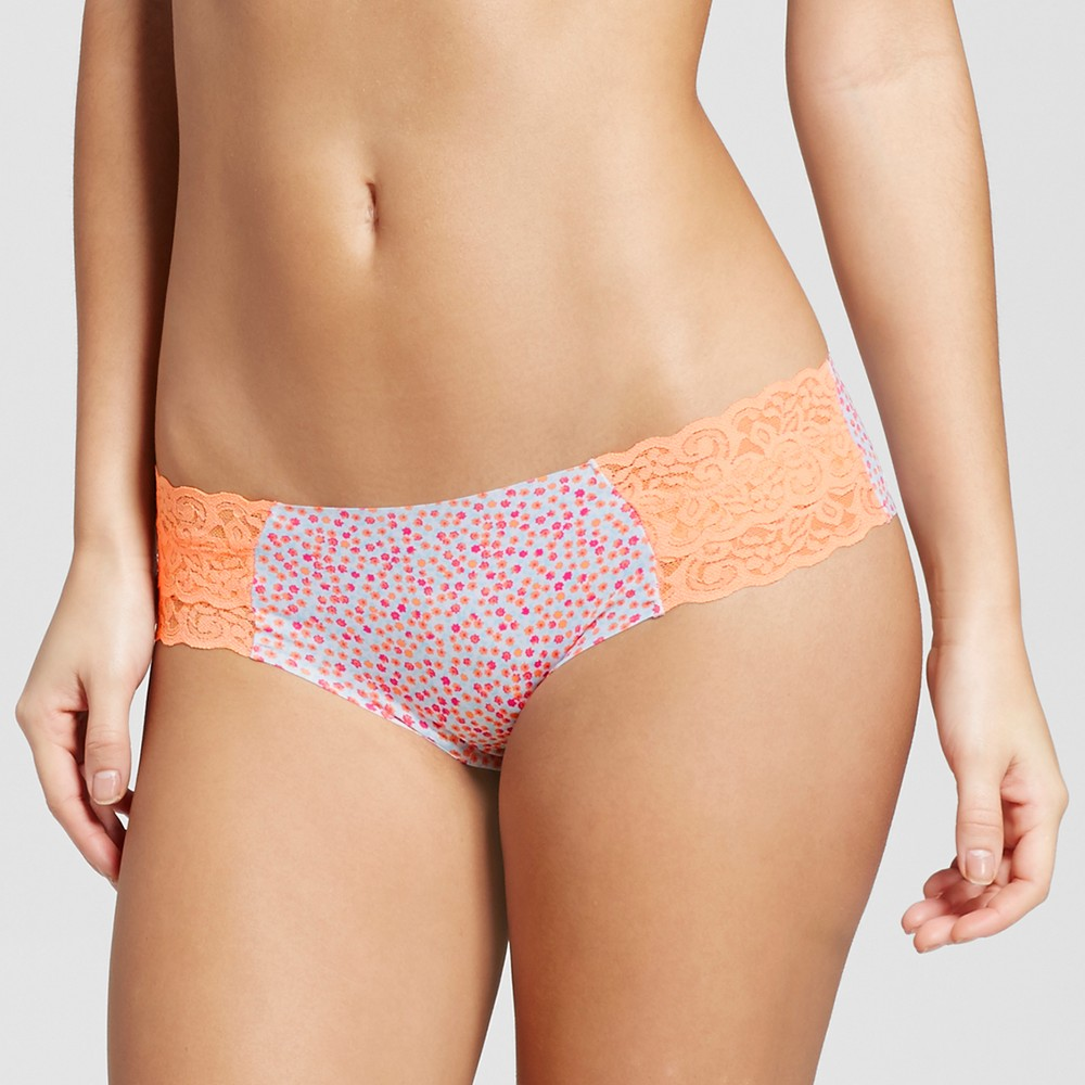 Womens Cheeky Laser Cut with Lace Boyshorts - Xhilaration - Ditsy Floral with Orange L