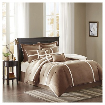Brewer Suede Comforter Set (King)Brown - 8pc